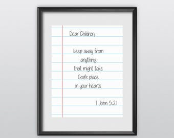 50% Off 1 John 5:21 Scripture Print Christian Poster Dear Children Typography Bible Verse Wall Art (T24)