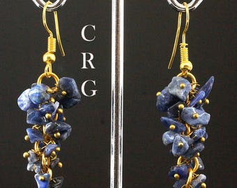 Gold Plated Sodalite Grape Cluster Earrings (GC44DG)