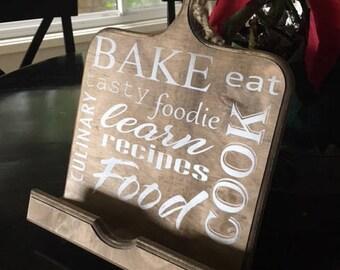 IPad Stand,IPad Holder,Cookbook Stand,Recipe Holder, Wooden Ipad Stand,Tablet holder,Gift for her,wood tablet stand,wood cookbook stand