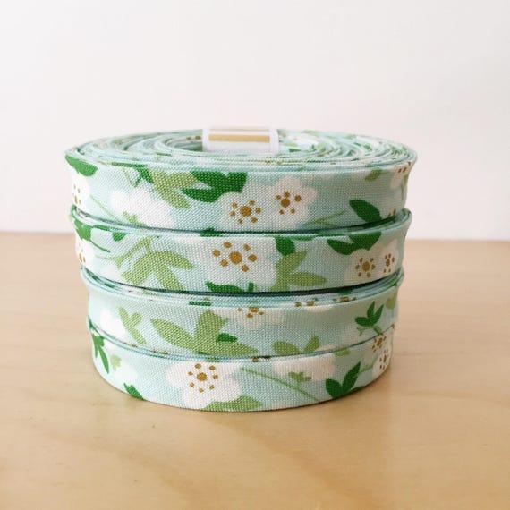 "Bias tape in Riley Blake Safari Party Metallic and Green Floral Cotton- 1/2"" Double-fold binding- 3 yard roll"