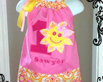 You Are My Sunshine Birthday DRESS - LIMITED EDITION Bubblegum Pink Party Pillowcase Dress - Yellows, Pinks Damask 1st 2nd 3rd 4th 5th 6th