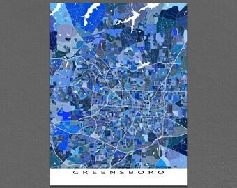 Greensboro Map Print, Greensboro, North Carolina, USA City Wall Art Prints