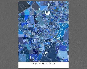 Jackson Map Print, Jackson Mississippi, City Artwork Maps