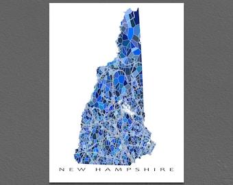New Hampshire Map Print, New Hampshire State Art, NH Wall Decor