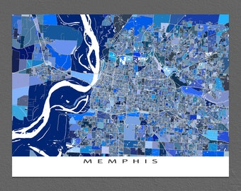Memphis Print, Memphis Map, Memphis Tennessee City Maps
