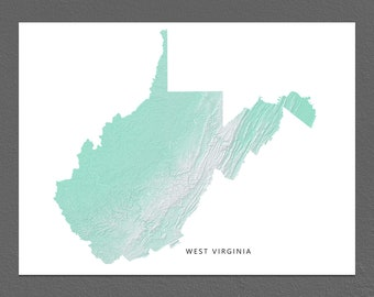 West Virginia Map Print, West Virginia State, Aqua, WV Landscape Art