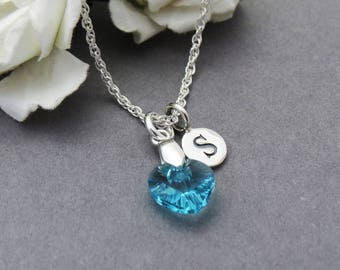 Girls Personalized Necklace, Silver Initial Necklace, Heart Necklace, Kids Jewelry