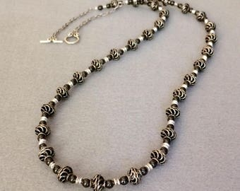 Black Necklace Long Black Necklace Black Bead Necklace Beaded Black Silver Necklace Statement Necklace Fashion Stylish Gift For Wife For Mom