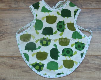 READY To Ship! Turtle Bapron, Full Coverage Bib, Art Smock,Baby Toddler Apron Bib, Baby Bib, Tie On Baby Bib, Toddler Bib,Full Coverage Bib