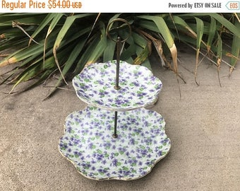 ON SALE Vintage Lefton Hand Painted Round Two Tier Serving Snack Tidbit Tray with Handle and Violet Chintz Pattern 1960s/1970s