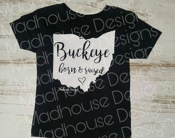 Infant Toddler and Youth Buckeye born and raised Ohio state silhouette. Football. Game day. Spirit wear. Native, roots, hometown, home