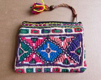 Banjara Wallet, Coin Purse, Handmade, Vintage Boho Purse Tribal Clutch Bag. Free UK Shipping B7