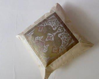 "Indian Cushion Cover 2 Elephants Design Beige Colour 16"" x 16"" Bohemian Pillow Case Meditation Yogi Hippie Free UK Shipping"