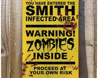 Personalised Halloween decoration party plaque - Zombie Vintage Picture Metal Wall Sign - Horror Party Show warning sign 200mmx300mm