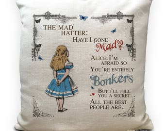 ALICE IN WONDERLAND Cushion Cover Mad Hatter Tea Party Bonkers - vintage printed Home Decoration decor - 16 inch 40cm