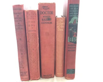 Set of 5 Red & Burgundy Old Books for Decor, Book Gift, Vintage Library, Instant Library, Antique Collection, Vintage Book Themed Wedding