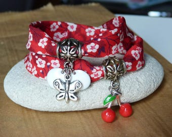 Bracelet temps des cerises red liberty fabric with cherries and Butterfly charms