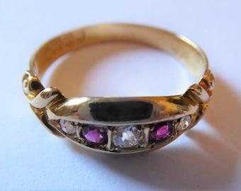 Antique Edwardian 18ct Yellow Gold, Diamond & Ruby Engagement Ring
