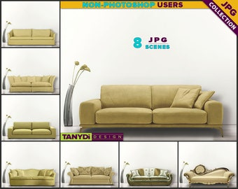 Living Room SC-03 | Yellow Sofa Interior | 8 JPG Blank Living Room Wall Styled Scenes | Wall Decor Scene Creator