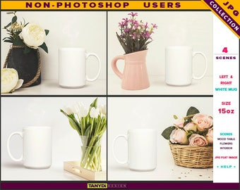 15oz White Coffee Mug   Styled JPG Scenes 15-C5   Mug on Wood Table with Flowers   Living room interior   Non-Photoshop