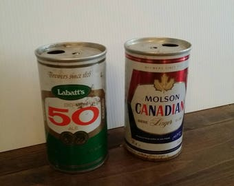 Molson and Labatts vintage beer cans