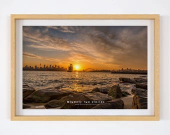 Sydney Sunset Photography Print. Australian Wall Art, Sunset Photography, Sydney Art Print, Bradley's Head, Australian Landscape Photography