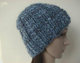 New! Hand knit hat blue adult unisex warm comfortable winter hat gray blue alpaca virgin wool acrylic hat men women chunky bulky yarn hat