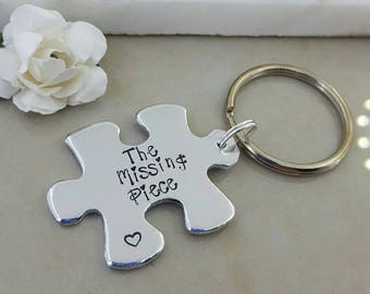 I've found my missing piece, puzzle Keychain, Jigsaw keyring, gift for partner, gift for him, gift for her, couple gift, Handstamped