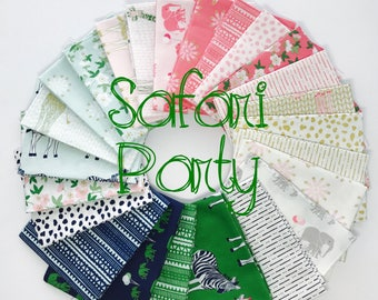Fat Quarter Bundle Safari Party by Melissa Mortenson for Riley Blake Designs- 24 Fabrics
