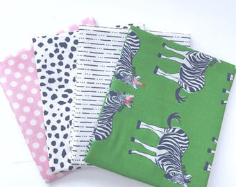 Bundle Safari Party by Melissa Mortenson for Riley Blake Designs- 4 Fabrics Green Main with Sparkle