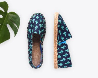 New! Sparkly Cactus Unisex Espadrilles in Midnight – Suzie London 70s retro espadrille summersandals with blue lining handmade in London