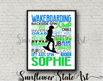 Personalized Wakeboarding Poster, Wakeboarder, Wakeboard, Water Skiing Wakeboarding Gift, Customized Print Typography