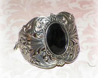 Silver Bracelet Cuff Goth Wide Victorian Black Vintage Sterling Statement Pastel Style Steampunk Cosplay Costume Gothic Antique Style