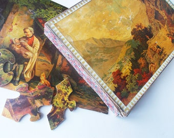 Antique French Jigsaw Puzzle 1800s Complete Lithographs on Wood