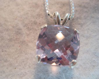 Genuine Amethyst Pink Sale AAA Color aka Rose de France 14mm Checkerboard Cushion Gemstone Natural Brazil Earth Mined Solid 925 SS w/Chain