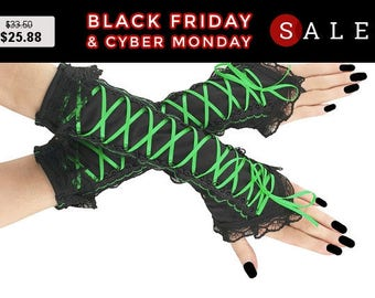 Black green long fingerless gloves lace arm warmers gothic burlesque vintage goth bridal glove womens evening, steampunk gloves 0260-08