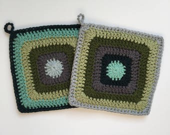Set of 2 • Stormy Seas Inspired Handmade Crochet Cotton Potholders