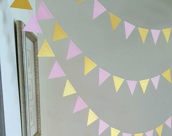 Triangle garland (12F) Pick Your Color,Wedding Garland,Pink and gold triangle garland,Geometric triangle garland,Wild one party decor,