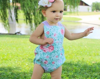 Lilac and coral garden romper, bodysuit, sunsuit