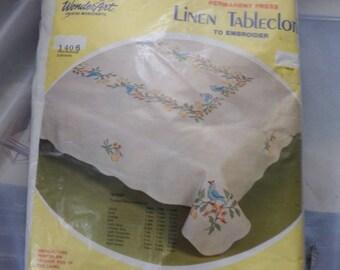 "Vintage Linen Tablecloth to Embroider by WonderArt Creative Needlecrafts Kit #1406 Size:  58"" x 88"" Permanent Press"