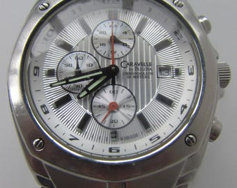 CARAVELLE By BULOVA CHRONOGRAPH 50 Meters mans wrist watch quartz all Stainless