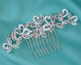 Small Silver Wedding Hair Comb, Rhinestone Bridal Comb, Crystal Wedding Hair Comb, Headpiece, Cute Bridal Side Comb CO-012