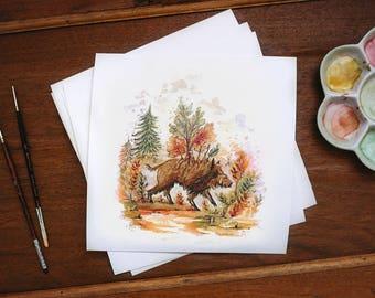 """Fine art print watercolor """"Boar of the wood"""""""