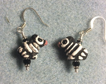Small black and white striped ceramic zebra bead earrings adorned with black Chinese crystal beads.