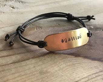 Custom leather adjustable bracelet custom quote bracelet word bracelet personalized leather bracelet couples bracelet set best friend gift