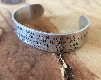 Custom silver cuff wide cuff bracelet music lyric quotes Pink Floyd lyrics music lover gift custom bracelet personalized cuff lyric jewelry