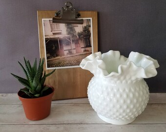 Fenton Hobnail Milk Glass Vase/ Fenton Hobnail Milk Glass Basket/ Milk Glass Bowl/ Double Ruffled Milk Glass/ Wedding Centerpiece/ Vase