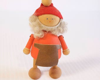 Vintage Wooden Elf - Gnome Swedish Tomte figurine with apron  - Mid century modern Sweden