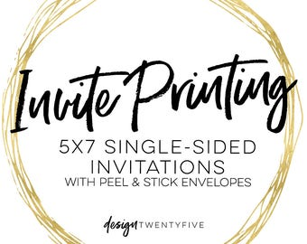 Invitation Printing Service // designtwentyfive // Printed Invitations // Quality Invitation Printing w/ envelopes