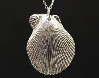 Silver shell; Silver necklace,Silver pendant; Pure silver;Fine silver;999 silver; Silver Art Clay,Shell,Charm necklace,Sterling silver chain